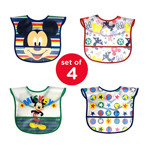 Disney Mickey Mouse 4Count Easy Wipe Toddler Bib with Crumb Catcher