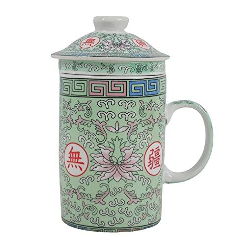 Coco Papaya - Taza infusor de té (porcelana), diseño de flor de loto, color verde