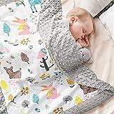 Mantas para Bebes Recien Nacidos 100% AlgodóN OrgáNico, Mantas Cuna Infantil De Forro Polar 70x105cm, Manta Bebe Recien Nacido Gris De Verano De Doble Cara para NiñO y NiñA
