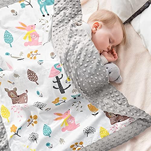 Babydecke 100% Bio Baumwolle, Kinder Kuscheldecke Polar Fleece Baby Komfort Decke 70x105cm, Grau Sommer Doppelseitige Blanket für Mädchen und Junge