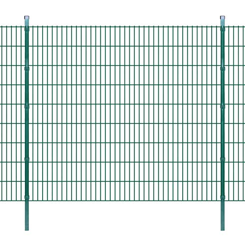BIGTO Garden Fence Panel & Posts 2D,Pre-galvanised steel with 2 layers of powder coating,Highly UV and corrosion resistant, 2008x1830 mm 2 m Green