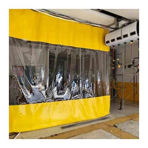 YJFENG Lona De PVC De 0,5 Mm, Cortinas De Aislamiento Térmico A Prueba De Viento, Panel Lateral De La Tienda, Lona Recubierta De Costura Amarilla, para Garaje, Pérgola, Porche