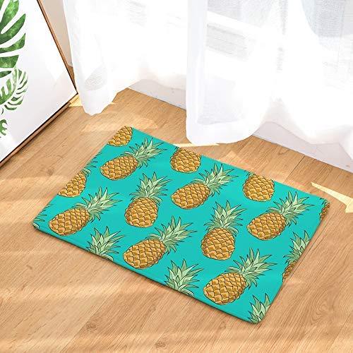 luhangshangmao Cartoon Pineapple Cyan Doormat Neoprene Backing Non Slip Outdoor Indoor Bathroom Kitchen Decor Rug Mat Welcome Doormat 18x30(IN)