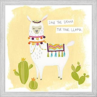 Easy Art Prints June Erica Vess's 'Pom Pom Llama Rama I' Premium Framed Canvas Art - 16