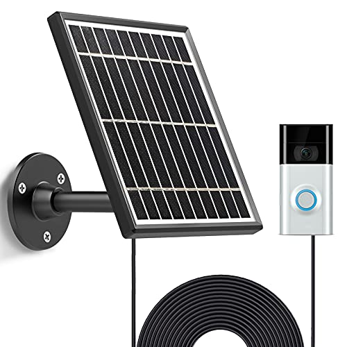 Upgrade Solar Panel Compatible with Ring Video Doorbell 2, Waterproof Charge Continuously, 5 V/ 3.5 W (Max) Output, Includes Secure Wall Mount, 5.0M/16 ft Power Cable