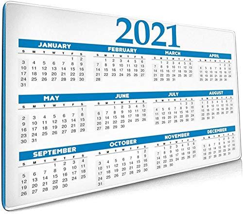 Alfombrilla de ratón grande de 90 x 30 cm x 0,3 cm, calendario 2021, alfombrilla de teclado, antideslizante, cómoda base de goma para escritorio, PC y portátil
