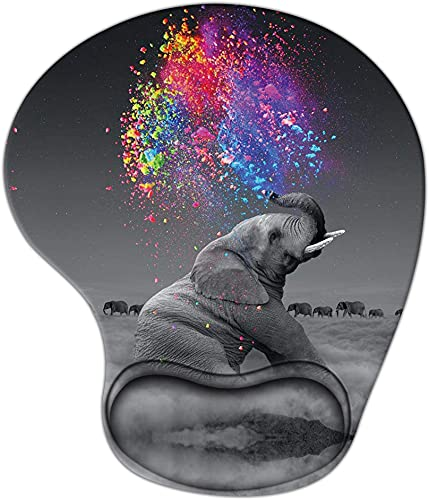 Animal Mouse Pad with Wrist Support, Ergonomic Gaming Mousepad Non-Slip Soft Sensitive Material, Creative Elephant Pattern Mouse Pads as Home Office Desktop Accessories or Ideal Gift