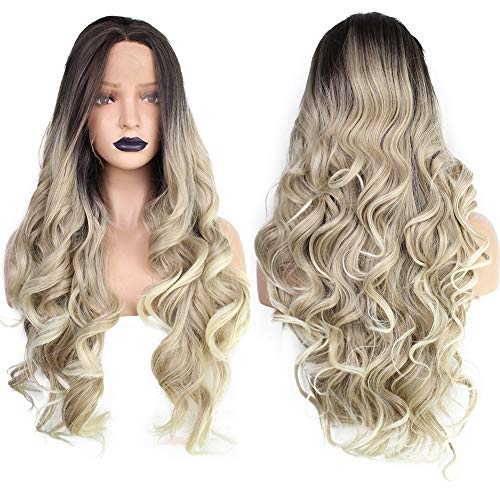 ANOGOL Hair Cap+Blonde Ombre Lace Front Wig with Black Roots Blonde Wigs with Long Curly Wavy Middle Part Heat Resistant Synthetic Hair Wigs for Women Half Hand Tied 26 inches