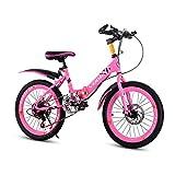 Bicicleta De Montaña Plegable para Niños, Bicicleta De Montaña con Asiento Ajustable De 20 Pulgadas, Bicicleta De Montaña para Exteriores De 18 Pulgadas para Niños Y Niñas (Rosa, Azul)