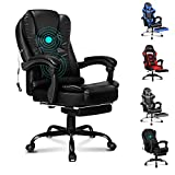 ELFORDSON Massage Executive Office Chair with Footrest Home Computer Desk Swivel Chair in
