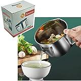 Cazo para leche de 15 cm, 1 L, acero inoxidable, con función de separación de grasa y filtro de aceite, en paquete de cartón.
