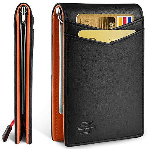 Zitahli Minimalist Slim Bifold Front Pocket Wallet with Upgraded Money Clip for Men RFID Blocking amp Unique Quickaccess Pull Tab Design with 1 ID Window