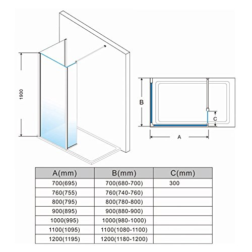 ELEGANT 1200mm Frameless Wet Room Shower Screen Panel 8mm Easy Clean Glass Walk in Shower Enclosure with 300mm Return Panel and Support Bar