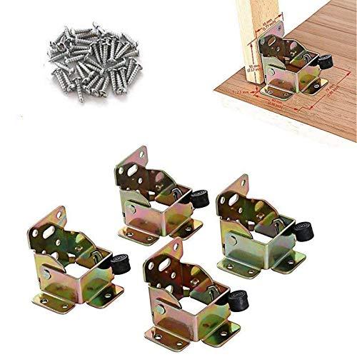 TopDirect 4PCS 75 x 60 x 55mm bisagras de hierro mesa patas de cama plegable de extensión de bloqueo lateral freno soporte con tornillos