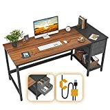 Cubiker Computer Home Office Desk, Desk with Drawers 55 inch Study Writing Table, Modern Simple PC Desk, Espresso and Black