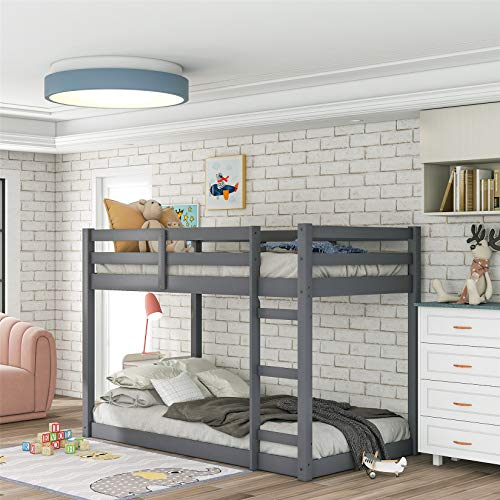 Low Bunk Beds Twin Over Twin, Wood Twin Bunk Bed Frame with Safety Rail Ladder for Kids Bedroom, Gray Loft Bed for Boys Girls Toddlers