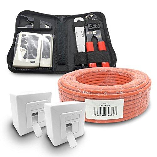 ARLI CAT 7 50m Verlegekabel Netzwerkkabel CAT.7 + 2X Netzwerkdose Cat6a + 1x Werkzeugset Crimpzange Abisoliermesser Tester Netzwerk Werkzeug Set 4 in 1 S/FTP CAT7 PIMF Kabel AWG23/1 Ethernet 50 m