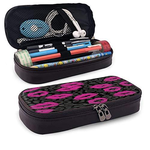 Estuche de piel para lápiz labial Kiss Lip Women Desire Cosmetic Feminine Love Mouth rosa negro bolsa de almacenamiento con cremallera para escuela, oficina, viajes, 8 x 3.5 pulgadas
