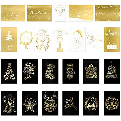 24 Premium Christmas Cards - Elegant Gold Foil Christmas Cards in 24 Fancy Gold Designs (12 Black & Gold Christmas Cards, 12 White & Gold Christmas Cards) Best Christmas Cards - 4 x 6 inches