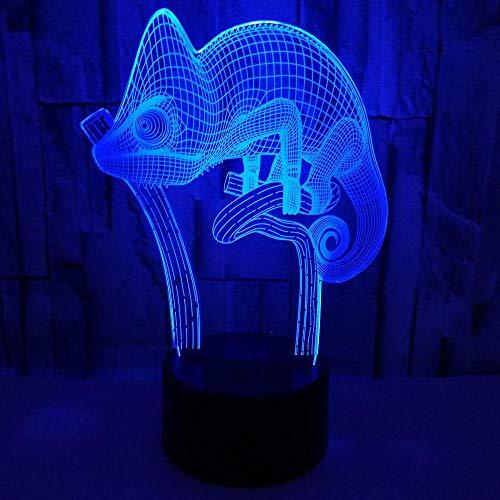 3D Illusion Nachtlicht Chamäleon Look Led Schreibtisch Tischlampe, 7 Farben Allmählich Wechselnder Touch-Schalter Usb, Geschenke Stimmungslampe Touch Girl Kind-B