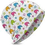 Unisex Hombres Mujeres Elefantes de Dibujos Animados Coloridos Niños Niño Niña Reloj de Punto de Invierno Sombrero Sombrero Suave y cálido cálido Gorro Lindo Negro
