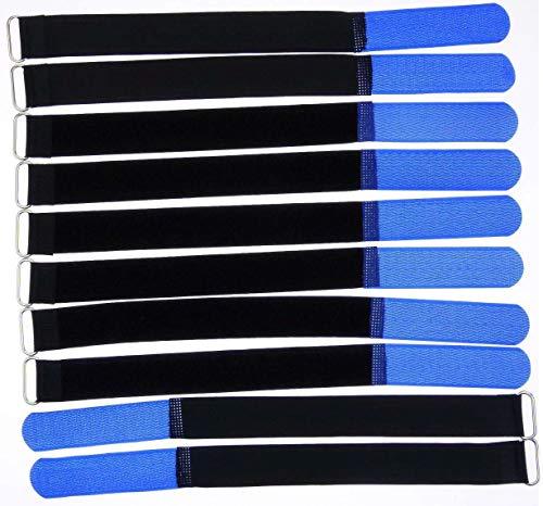 10x 30 cm x 25 mm wiederverschließbare Klett-Kabelbinder BLAU mit Metall-Öse - Kabel-Klettband 300 mm wiederverwendbar