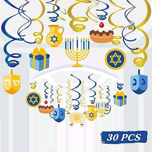 30PCS Hanukkah Decorations Hanging Swirls - Holiday Chanukah Party Supplies Favors Ceiling Decor