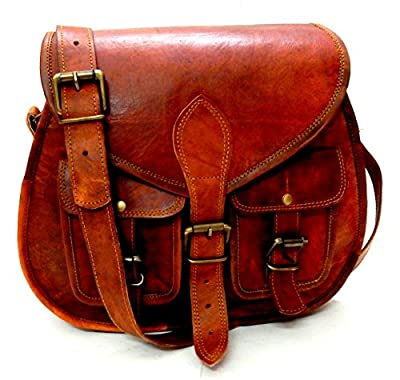 Women Vintage Style Genuine Brown Leather Crossbody Shoulder Bag Handmade Purse