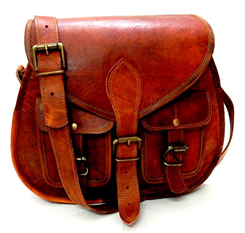 ❤CROSSBODY SHOULDER BAG : 100% Genuine Leather (Goat Hide), Color-Brown, Making - Handmade, SIZE;13 x 10 (13 inches Tall and 10 inches Wide) with Two Outer Pockets and adjustable shoulder strap. ❤MULTI UTILITY PURSE: This Multi utility Satchel Purse ...