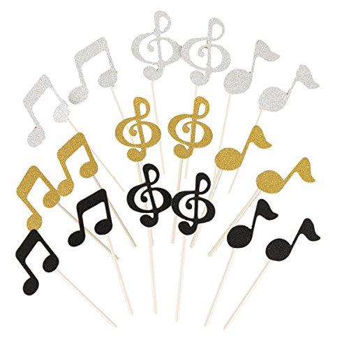 Healifty 18 Stück Kuchen Cupcake Topper Picks Deko Kuchendekoration Glitter Musiknoten Form für Kindergeburtstag Baby Dusche Party Hochzeit