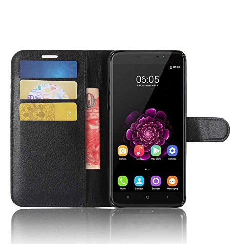 Tasche für Oukitel U20 Plus Hülle, Ycloud PU Kunstleder Ledertasche Flip Cover Wallet Case Handyhülle mit Stand Function Credit Card Slots Bookstyle Purse Design schwarz