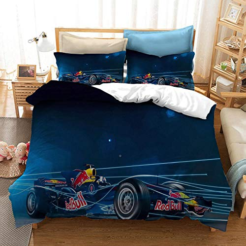 BHFDCR Bettbezug Bettwäsche Set Dreiteilige Bettwäsche Formel Eins 3D Digital Print Weiche Bettwaren aus Mikrofaser Mit Reißverschluss (1 Bettbezug + 2 Kissenbezug) Schlafkomfort 220 x 230 cm