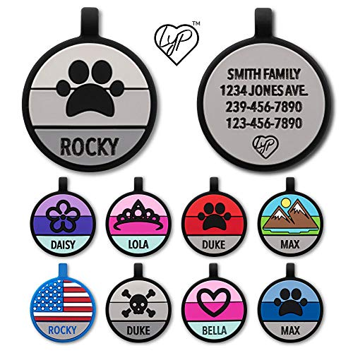 Love Your Pets Soundless Pet Tag - Designer Deep Engraved Silicone – Double Sided and Engraving Will Last - Choices of Pet ID Tags, Dog Tags, Cat Tags (Grey, Paw)