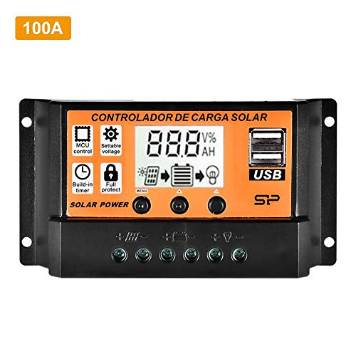 oshidede MPPT-Solarregler Mit LCD - 10A / 20A / 30A / 40A / 50A / 100A Automatischer Intelligenter Solarpanel-Regler - Dualer USB-Spannungsregler - 12V / 24V-Ladegerät