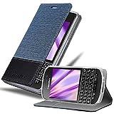 Cadorabo Funda Libro para Blackberry Q10 en Azul Oscuro Negro - Cubierta Proteccíon con Cierre Magnético, Tarjetero y Función de Suporte - Etui Case Cover Carcasa