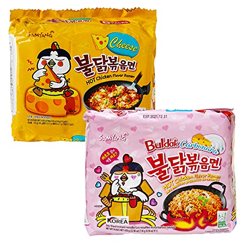 kennenlernbox 10er Ramen Box | Samyang Hot Chicken Ramen Combo | 5er Pack Carbonara & 5er Pack Käse