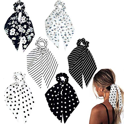 Funlovin Black White Scarf Scrunchie Hair Ribbon Ties with Tails Chiffon Elegant Classic Long Ponytail Scrunchies Scarves Stripped Dot Floral Bandana Scrunchy Accessories for Women Lady (6pcs)