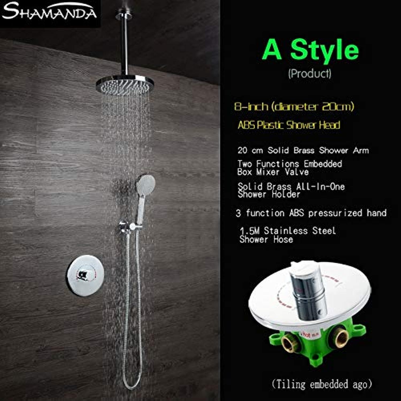 Kostenloser Versand Messing Grünckte Rotation Stil Embedded Box Mischventil Runde Dusche Set mit Duschkopf und Arm Handbrause, ein Stil