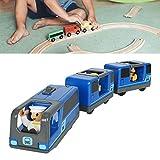 knowledgi Ferrocarril eléctrico – Locomotora de ferrocarril magnético conectado, pequeño juguete con riel de madera para niños