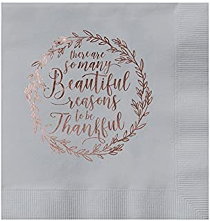 Paper Frenzy Christmas Holiday So Many Beautiful Reasons to Be Thankful Silver Luxury 3 ply Luncheon Napkins 25 pack