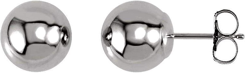 14k White Gold 4 mm Ball Earrings for Women 0.31g