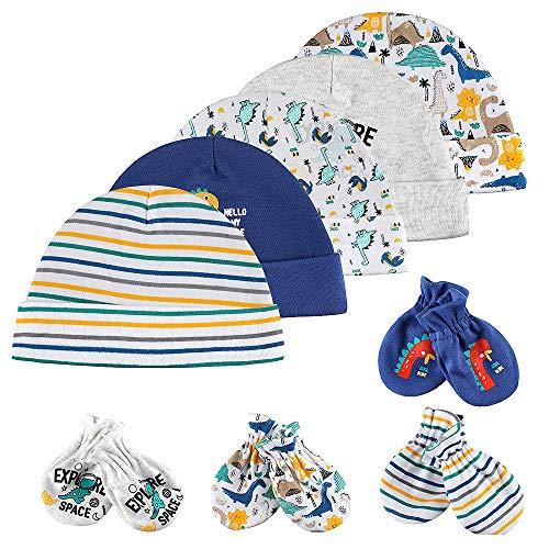 Lictin Baby Mütze Neugeborene Babyset Neugeboren Junge100% Baumwolle Baby Kratzhandschuhe Kratzfäustlinge Babymütze Junge 9 PCS, 0-6 Monate