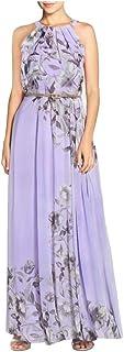 Women's Halter Sleeveless Maxi Dress - Elegant Ladies Floral Print Belt Chiffon Long Dress Slim Draped Dresses