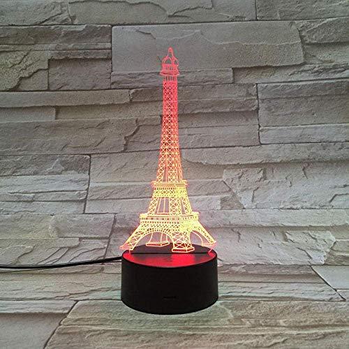 Luz De Ilusión 3D Luz De Noche Led Arquitectura De París Torre Eiffel Regalo Exquisito Ambiente De Niña 7 Colores Con Control Remoto