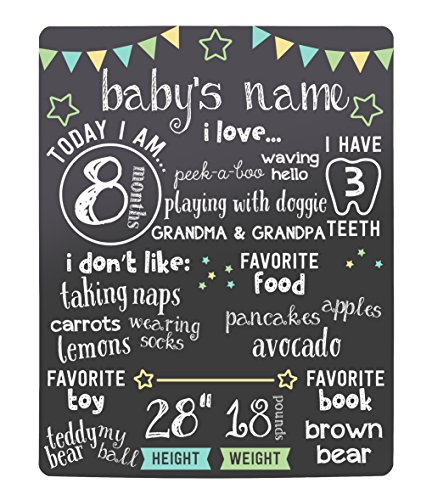 Price comparison product image Kate & Milo Stars Baby Monthly Milestone Chalkboard,  Baby Photo Prop Board,  Baby Gift,  Black