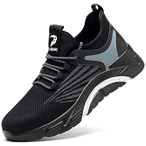 YISIQ Zapatos de Seguridad para Hombre Zapatillas de Mujer Seguridad de Acero Ligeras Calzado de Trabajo para Comodas Unisex Zapatos de Industria y Construcci贸n Antideslizante, 02 Negro, 39 EU