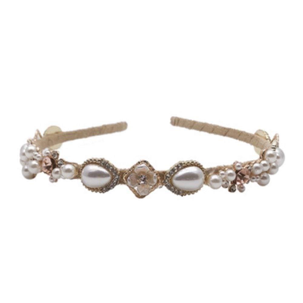 LILINGJIA Small fresh and simple hair bands diamond flower hair ornaments hair headband pressure sweet little lady pearl hair bands