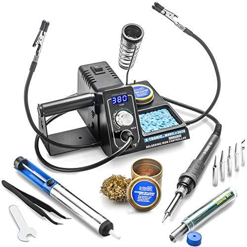 X-Tronic 75 Watt Model #3020 Soldering Iron Station - 2 Helping Hands, 5 Extra Tips, Solder Roll Holder, Brass Tip Cleaner w/Cleaning Flux, Solder Sucker, Solder & Tweezers - C/F & 10 Min Sleep Func