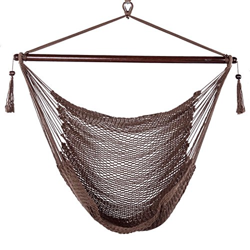 Blissun Hanging Hammock Chair, Swing Chair, 40-inch Wide Seat, Polyester Cotton (Mocha) …