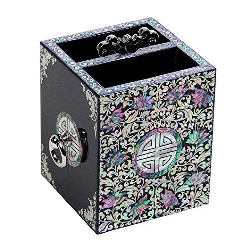 Antique Alive Accessoire de bureau Pot a Crayons Stylos Bois Artisanat Coreen Nacre Mystere Chauve Souris